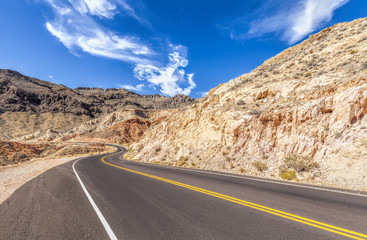 Country curved road in USA, travel concept.