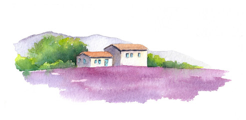 Lavender field and rural house in Provence, France. Watercolor