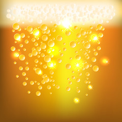 Background as glossy beer textur with bubbles and foam