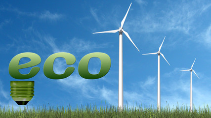 eco text and wind turbines - ecology concept