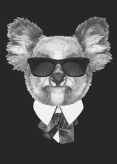 Portrait of Koala bear in suit. Hand drawn illustration.