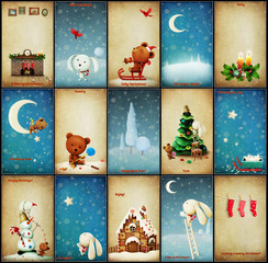 Set of Christmas illustrations adventures Teddy and Bunny