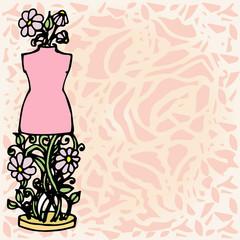 Fond de hotte en verre imprimé Hibou Illustration mannequin, tools for fashion design, background