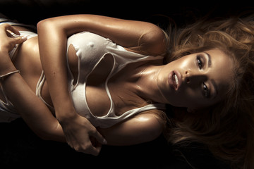 Beauty portrait of sensual blonde woman.