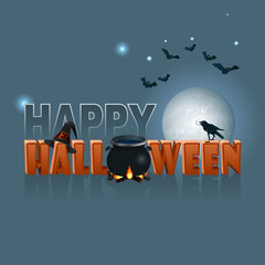 Happy Halloween, background with a witches magic cauldron; Holidays, template with Halloween three dimensions text, witches cauldron, raven, flying bats and wizard's hat; Large space for text