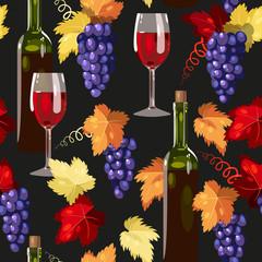 Seamless wine and grape