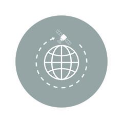 Illustration of globe symbol and satellites.