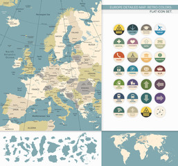 Europe detailed map.Retro Colors