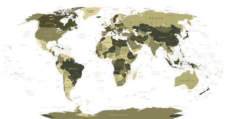 Detailed World Map in camouflage colors