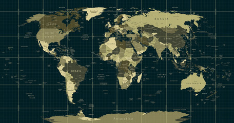 Wall Murals World Map Detailed World Map in camouflage colors with a square grid
