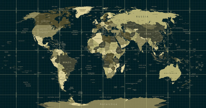 Detailed World Map in camouflage colors with a square grid