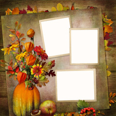 Vintage background with frames, a bouquet of autumn leaves and berries