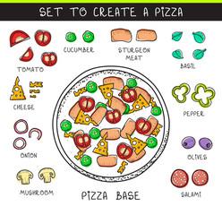 Template doodle set ingredient to build pizza. Sliced vegetables