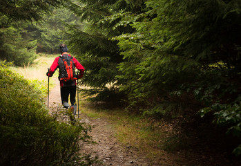man with backpack and poles training ultra trail in the mountains