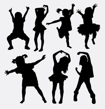 Kid, little girl dancing silhouettes. Good use for symbol, web icons, logo, or any design you want.