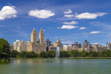 The Eldorado luxury apartment building seen from Central Park in NYC, USA