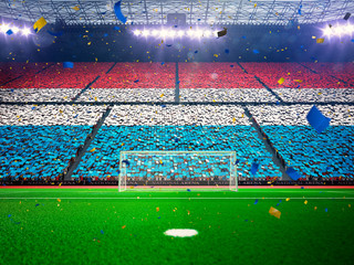 Flag Luxembourg of fans. Evening stadium arena Blue