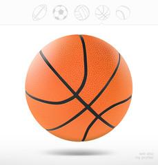 Basketball ball on white background. Vector illustration
