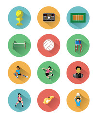 Modern flat volleyball icons set with long shadow effect