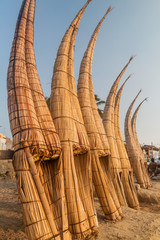 Traditional reed boats in Huanchaco