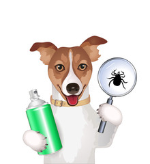 Dog with a magnifying glass,  tick and spray Vector illustration isolated on white background