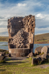 Ruin of a  funerary tower in Sillustani