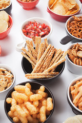 Grissini salty sticks with sesame and other savory snack
