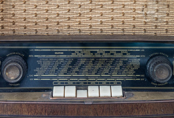 Control panel of old classic analog radio receiver