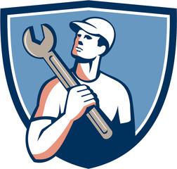 Tradesman Mechanic Spanner Crest Retro