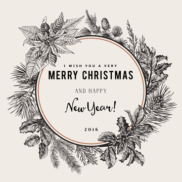 Vintage vector card. I Wish You A Very Merry Christmas And Happy New Year. The wreath of branches of different trees. Black and white.