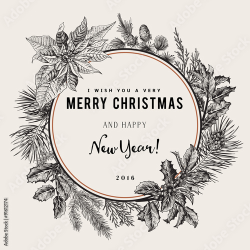 Vintage vector card. I Wish You A Very Merry Christmas And Happy New ...