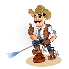 Illustration of a cowboy  with water blaster pressure power washing sprayer