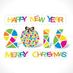 creative happy new year 2016 or merry Christmas tree greeting design with triangle vector