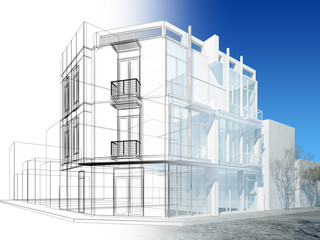 abstract sketch design of exterior building