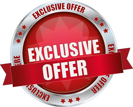 modern red exclusive offer vector sign