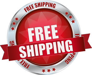modern red free shipping vector sign