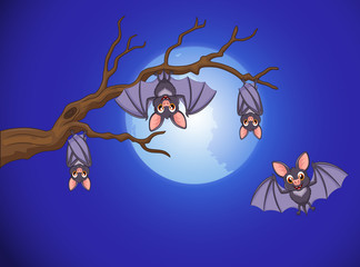 adorable bat cartoon sleeping and fly at night with full moon background