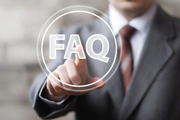 Businessman touch button interface communication FAQ