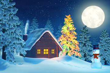 Cabin, Christmas tree and snowman in winter landscape at night