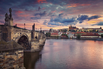 Prague. Image of Prague, capital city of Czech Republic, during beautiful sunset.