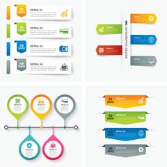 set of infographic templates flat design