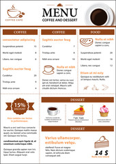 coffee and dessert menu flat design