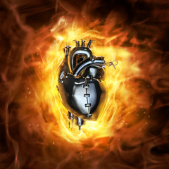 Heavy metal heart / 3D render of grungy metal heart with fire background