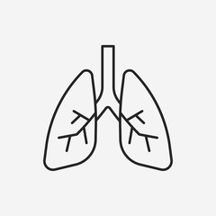 organ lung line icon