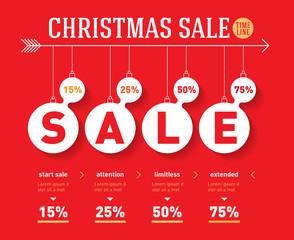 Christmas sale time line graph. Vector social activity infograph