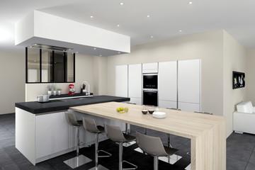 Cuisine 08 - blanc mat, ilot avec table bois, mur d'armoires, sans poignées, verrière