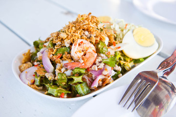 Thai Spicy salad with shrimp and vegetables