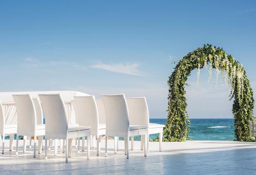 beautiful wedding setting up on beach