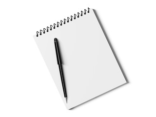 Blank note paper with pen. isolated on white.