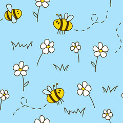 Seamless pattern with cute bees